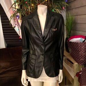 Etienne Aigner Genuine Black Leather Jacket 8